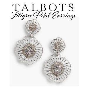 Talbots Earrings*Filigree Petalw/Pave Stones(NWT)✔